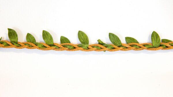 Cordão Entrançado Folhas - Castanho