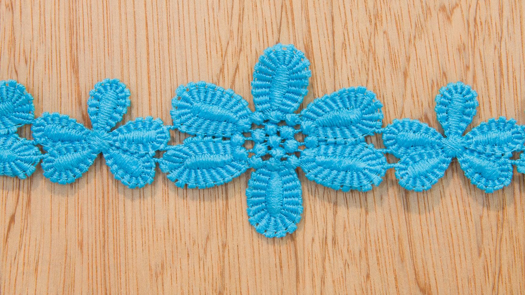 Renda - Guipur - Flores Turquesa