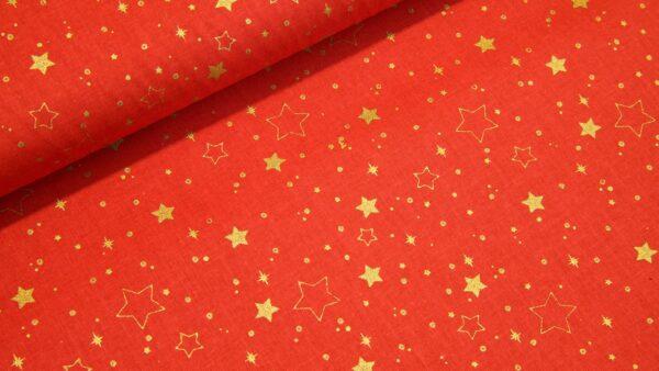 Estrelas Douradas em Vermelho