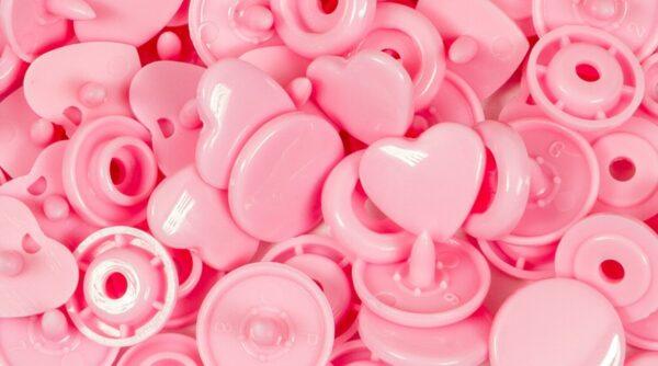 Molas de Pressão em Coração - Rosa Bebé
