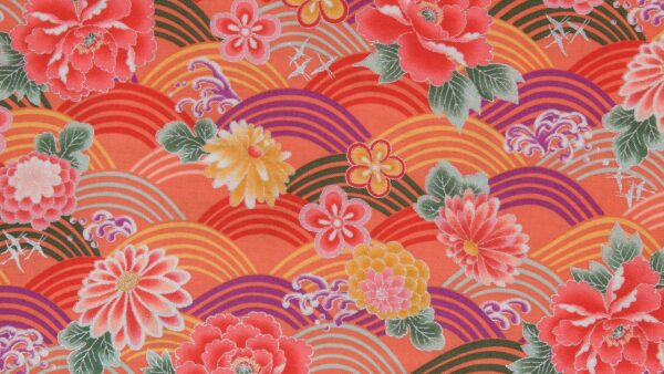 Seigaiha Flowers Pink