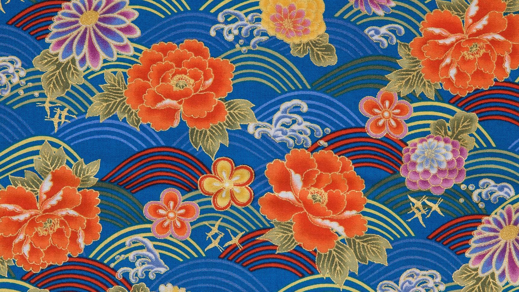 Seigaiha Flowers Blue