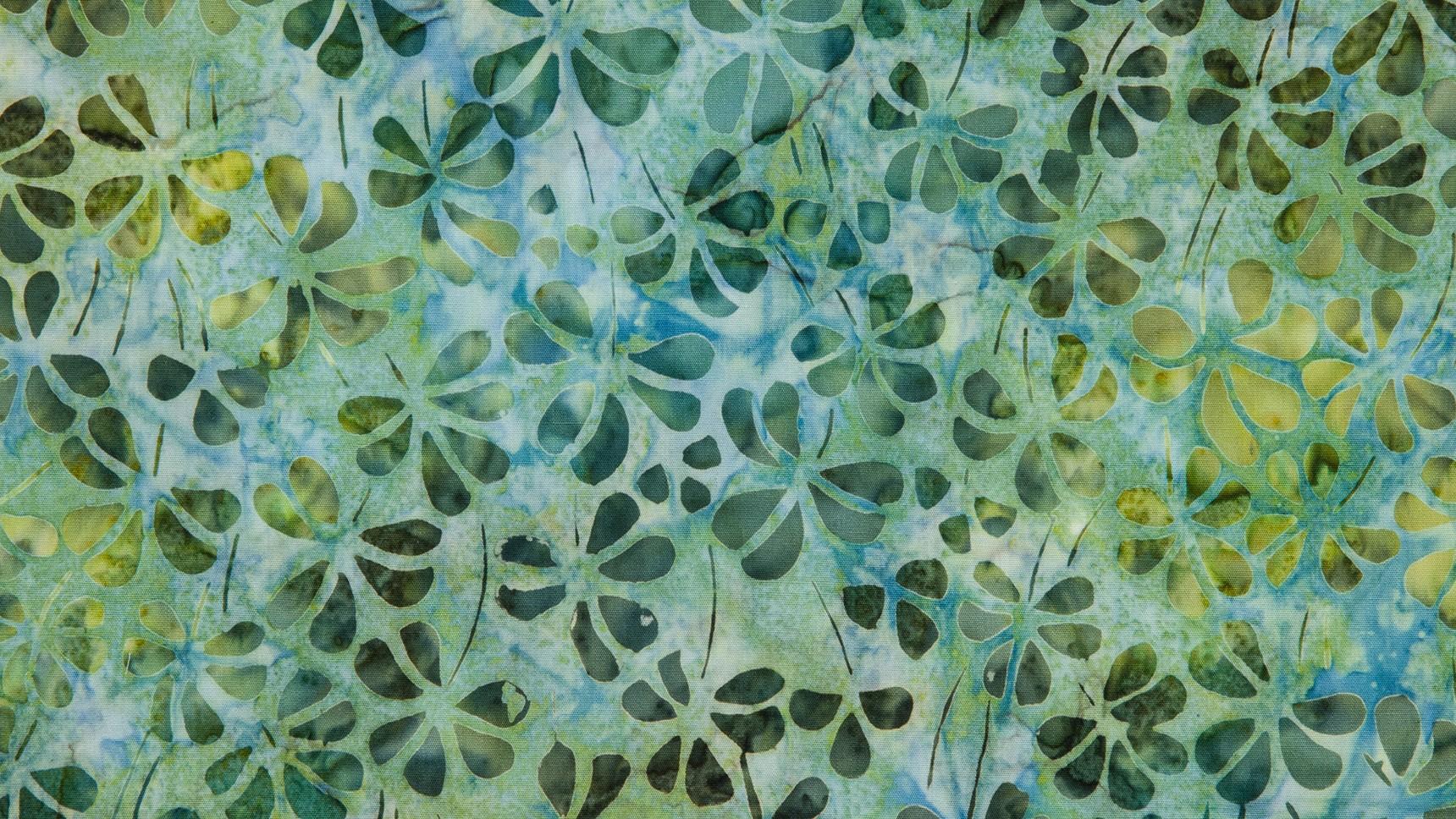 Batik Floral em Verdes II