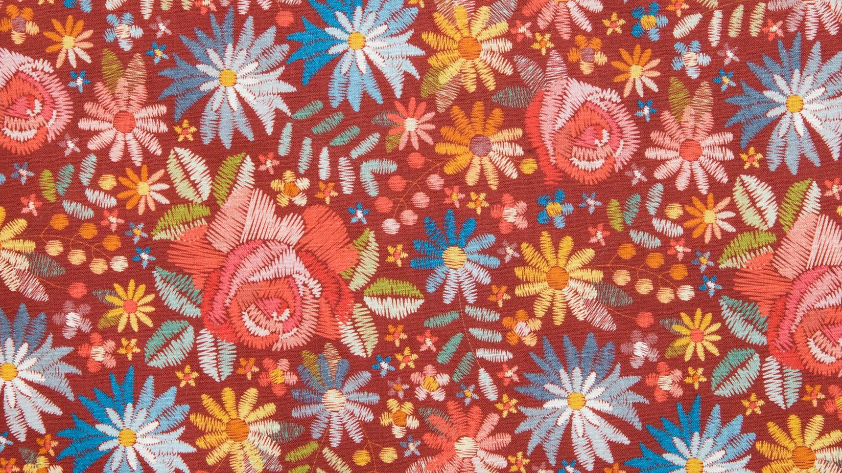 Flores Bordadas - Vermelho