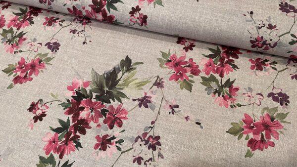 Lona/ Canvas - Floral em tons de Linho
